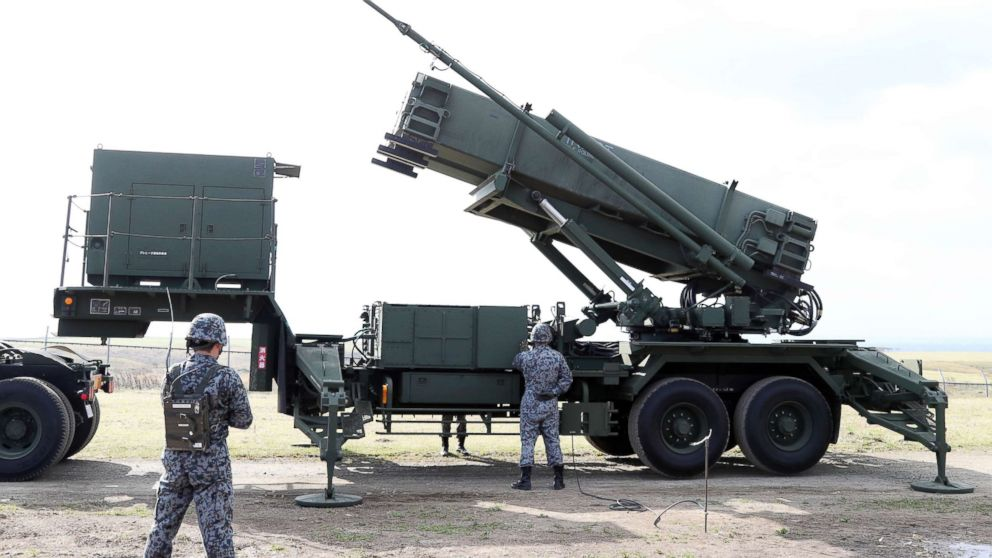 Patriot Advanced Capability-3 missile interceptors (PAC3) are unveiled to media during a training in Erimo Town, Hokkaido on Oct. 31, 2017. Japan Self-Defense Forces has prepared for North Korea's ballistic missile.