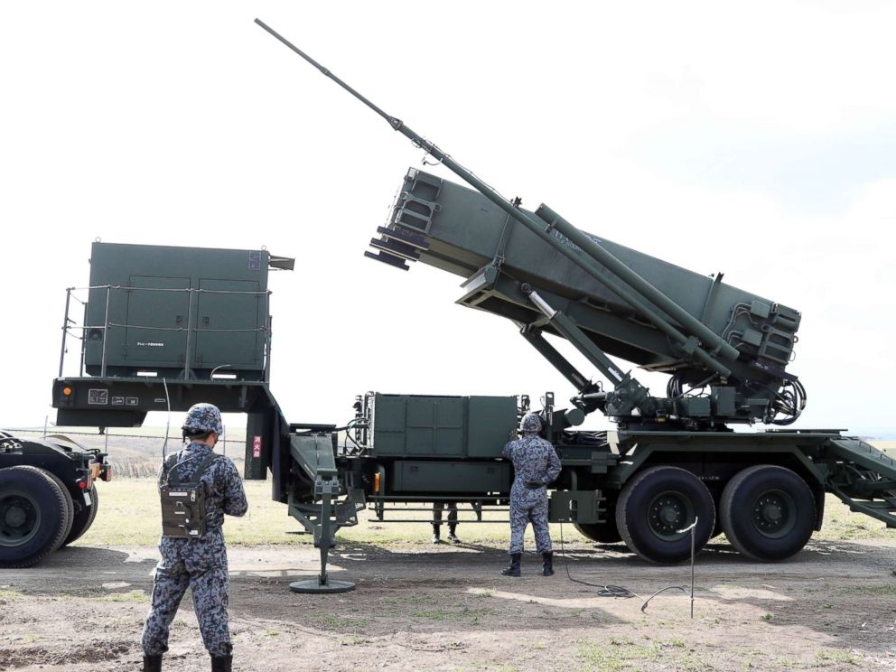 PHOTO: Patriot Advanced Capability-3 missile interceptors (PAC3) are unveiled to media during a training in Erimo Town, Hokkaido on Oct. 31, 2017. Japan Self-Defense Forces has prepared for North Koreas ballistic missile.