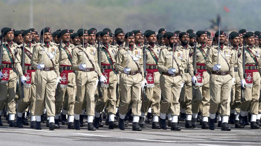 Members of the Pakistani Armed Forces attend a military parade to mark Pakistan's National Day in Islamabad, March 23, 2018.