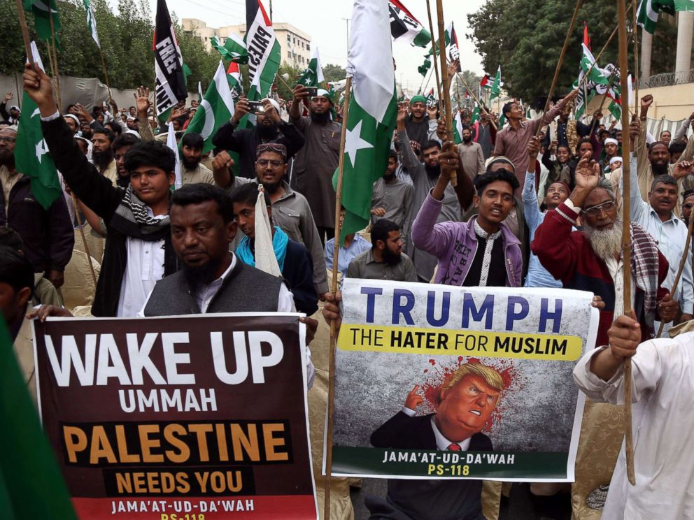 PHOTO: Supporters of banned Islamic charity Jamat ud Dawa attend a protest against President Trumps decision to accept Jerusalem as Israels capital, in Karachi, Pakistan, Dec. 10, 2017.