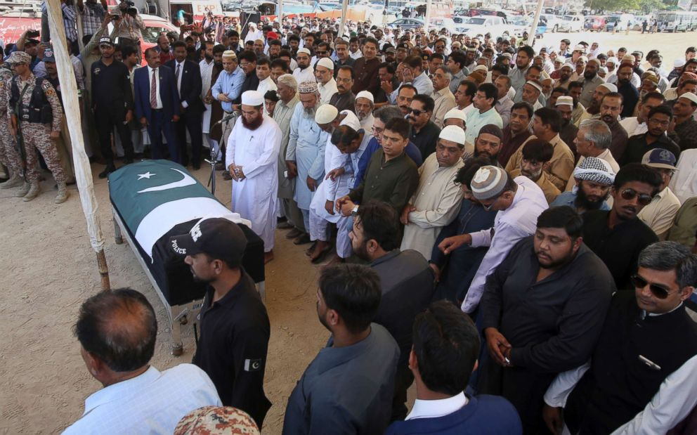 PHOTO: People pray at a funeral for Sabika Sheikh in Karachi, Pakistan, May 23, 2018.