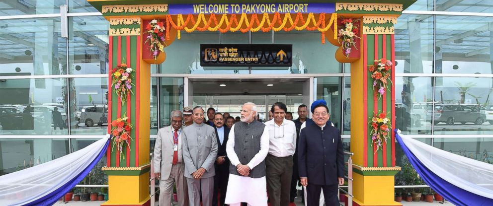 PHOTO:Indian Prime Minister Narendra Modi, center, at the inauguration of the Pakyong Airport in Gangtok, Sept. 24, 2018.