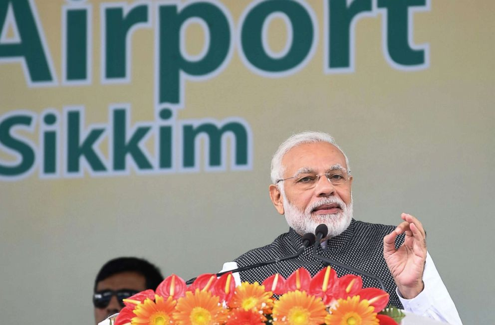 PHOTO: Indian Prime Minister Narendra Modi addresses a gathering at the inauguration of the Pakyong Airport in Gangtok, Sept. 24, 2018.