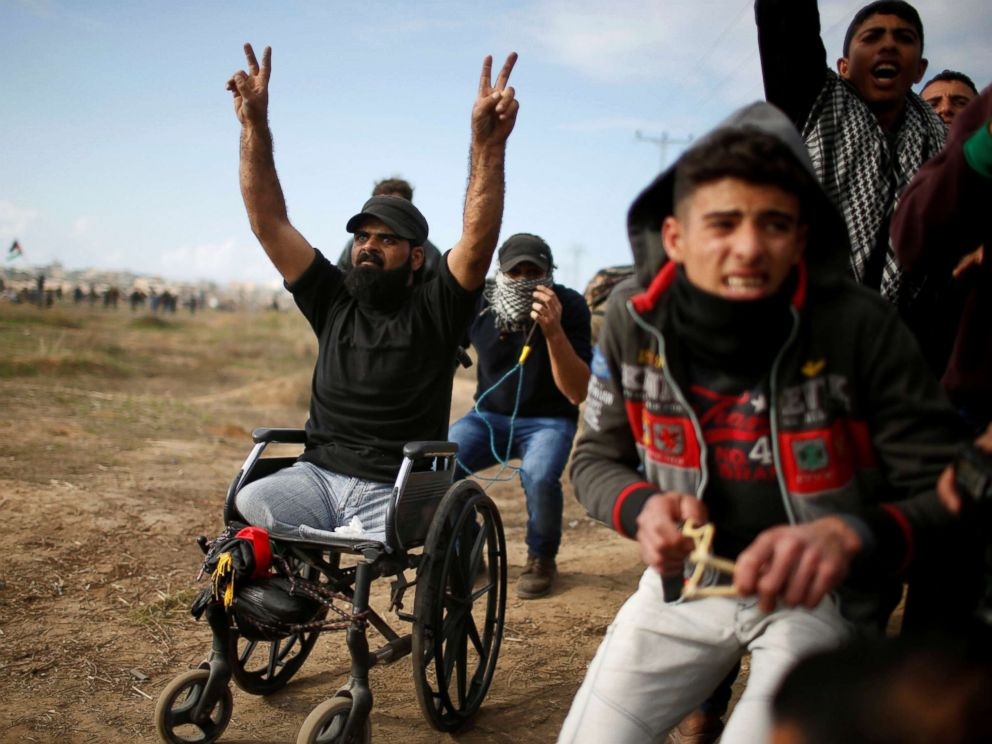 PHOTO: Wheelchair-bound Palestinian Ibraheem Abu Thuraya, who was later killed during the clash, protests against President Donald Trumps decision to recognize Jerusalem as the capital of Israel, near the east of Gaza City Dec. 15, 2017.