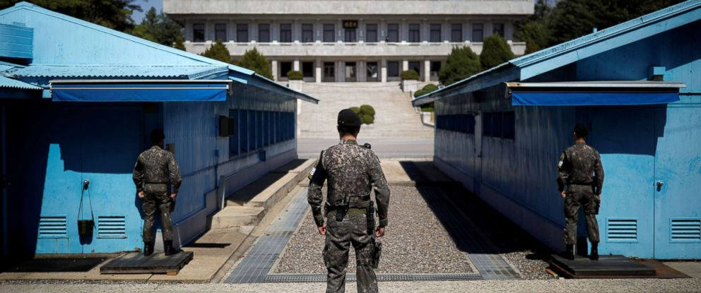 PHOTO: South Korean soldiers stand guard at the truce village of Panmunjom inside the demilitarized zone separating the two Koreas, South Korea, April 11, 2018.