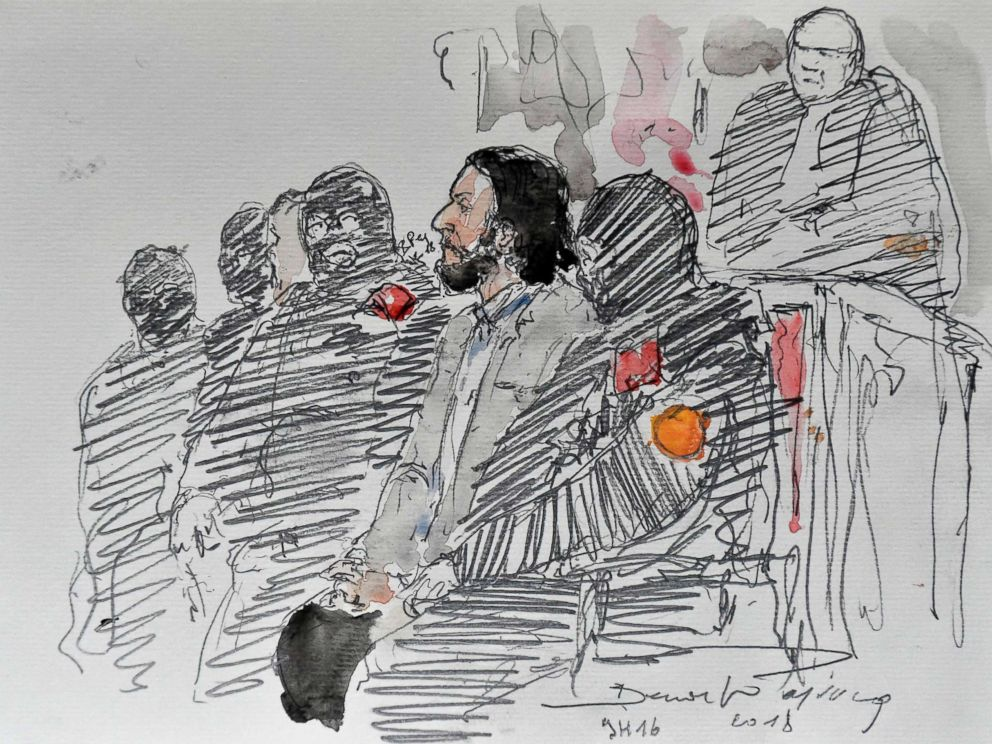 PHOTO: A courtroom sketch shows Salah Abdeslam, a suspect in the November 2015 Paris attacks, prior to the opening of his trial at the Palais de Justice courthouse in Brussels, Feb. 5, 2018.