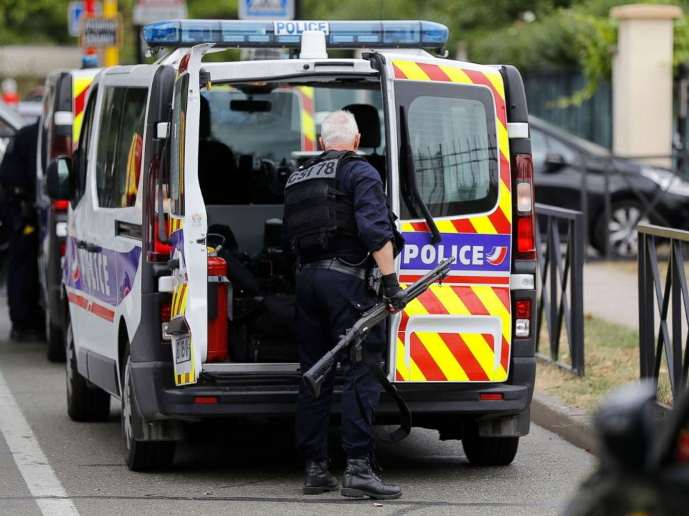 PHOTO: French police establish a security perimeter around a residential pavilion in France, Aug. 23, 2018.
