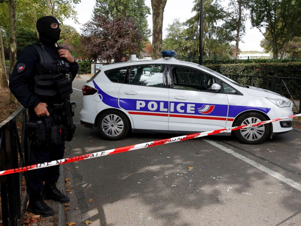 PHOTO: French police secure a street after a man killed two persons and injured an other in a knife attack in Trappes, near Paris, according to French authorities, France, Aug. 23, 2018.