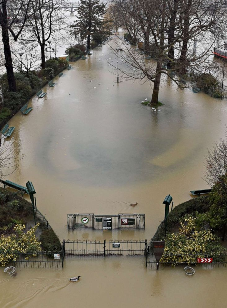 PHOTO: A flooded playground on the banks of the Seine river in Paris, Jan. 22, 2018.