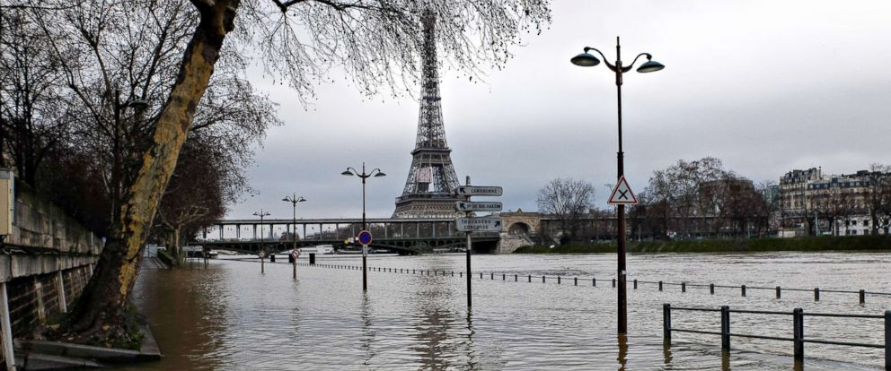 PHOTO: Flooded riverside lanes. The Seine river has breached its banks, on Jan. 23 2018, in several areas after weeks of heavy rains in and around the French capital.