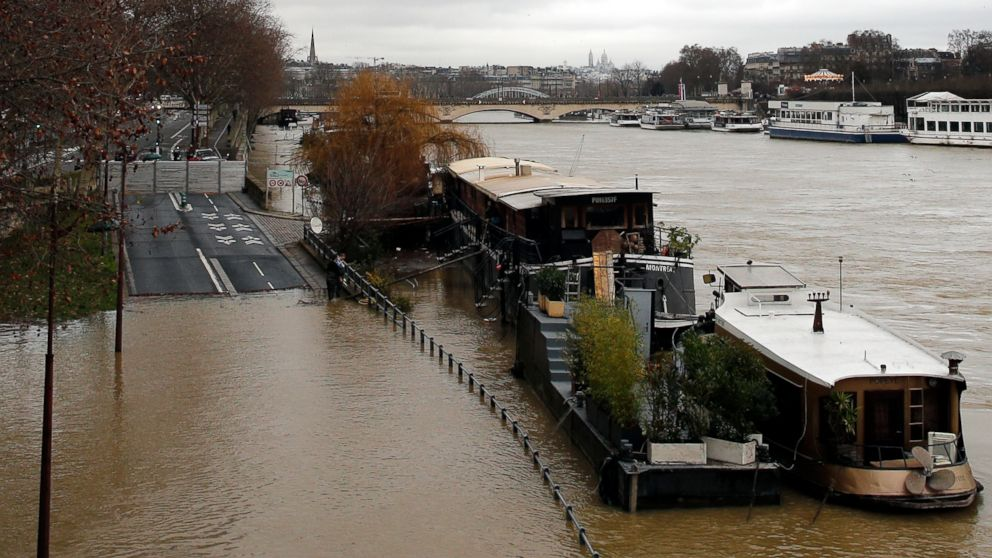 A flooded street is pictured in Paris, Jan.23, 2018.