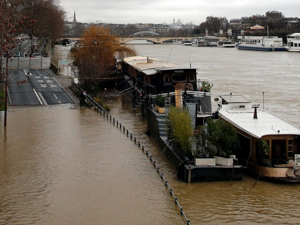 PHOTO: A flooded street is pictured in Paris, Jan.23, 2018.