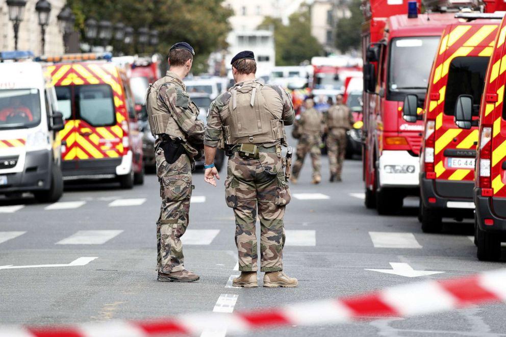 PHOTO: Military forces establish a security perimeter near Paris police headquarters in Paris, Oct. 3, 2019.