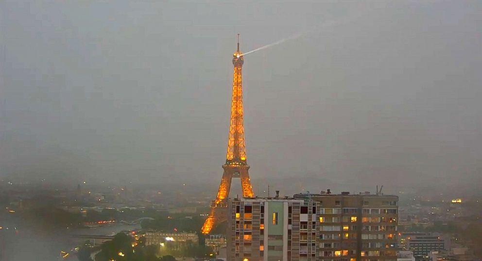 PHOTO: Lightning struck the Eiffel Tower in Paris on May 28, 2018. spectacular images of lightning striking the eiffel tower Spectacular images of lightning striking the Eiffel Tower paris lightning eiffel tower4 ml 180530 hpEmbed 24x13 992