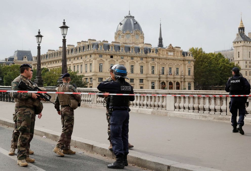 PHOTO: French police secure the area in front of the Paris Police headquarters in Paris, Oct. 3, 2019.