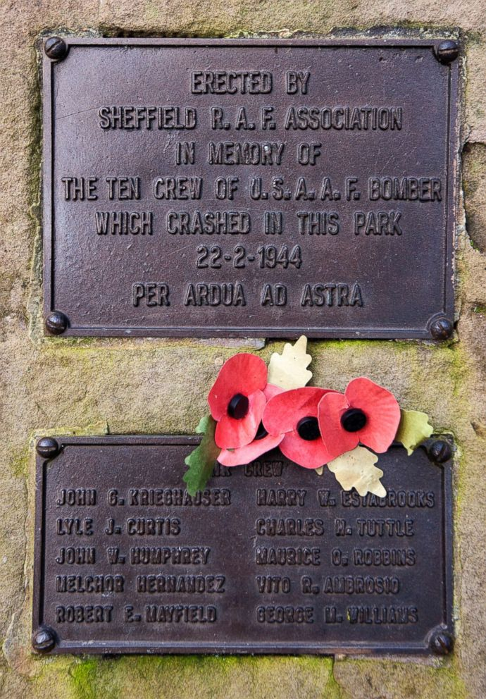PHOTO: The memorial honoring 10 U.S. airmen who died in a plane crash, Feb. 22, 1944, in Endcliffe Park, Sheffield, England, is seen, Feb. 13, 2019.
