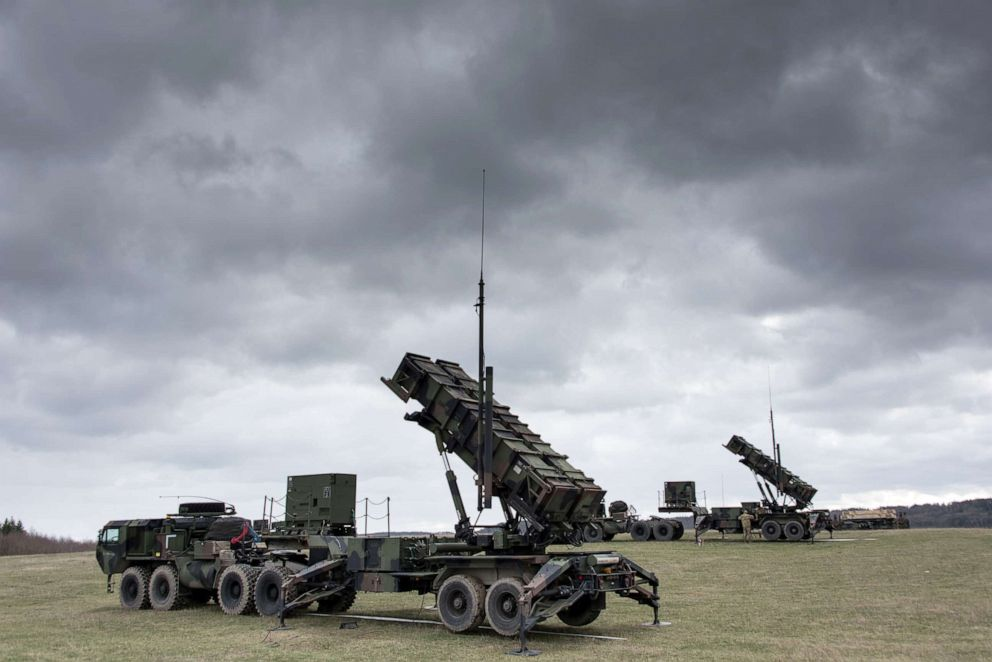 PHOTO: U.S. Soldiers install and check MIM-104 Patriot surface-to-air missile (SAM) systems for a readiness exercise at Oberdachstetten range complex, Ansbach Germany, March 13, 2019.