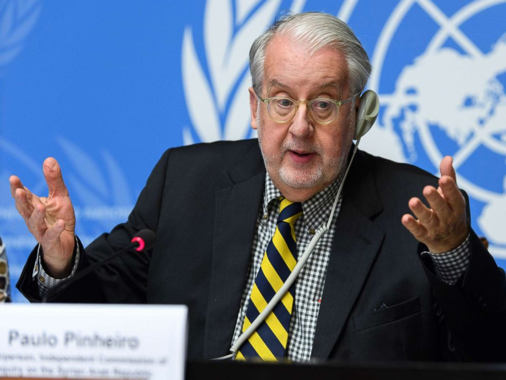 PHOTO: Brazilian Paulo Sergio Pinheiro, Chairperson of the Commission of Inquiry on Syria, during a press conference at the European headquarters of the United Nations in Geneva, Switzerland, Sept. 6, 2017.