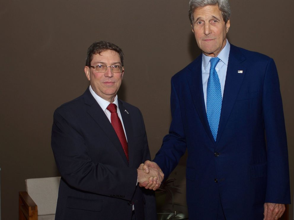 PHOTO: In the highest level meeting since ties were broken, U.S. Secretary Kerry meets with Cuba Foreign minister Rodriguez.