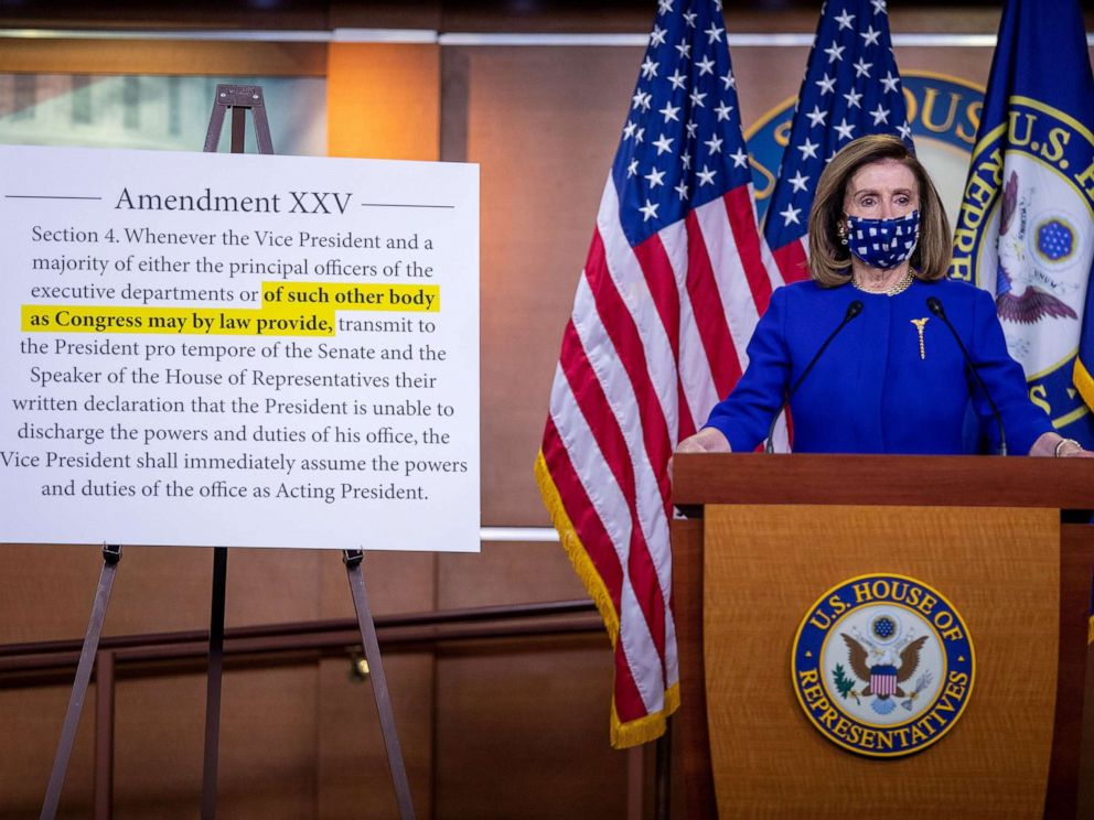Pelosi Proposes Experts Review A President S Mental Fitness Under 25th Amendment Abc News