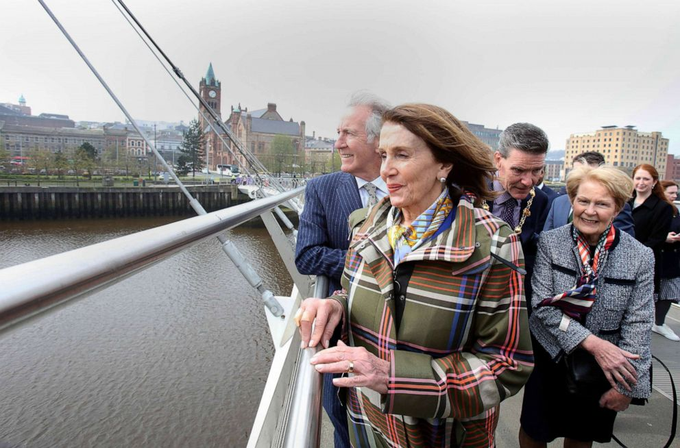 PHOTO: Speaker of the House Nancy Pelosi and Congressman Richard Neal, left, walk along the Peace Bridge in Derry (Londonderry), Northern Ireland, April 18, 2019.
