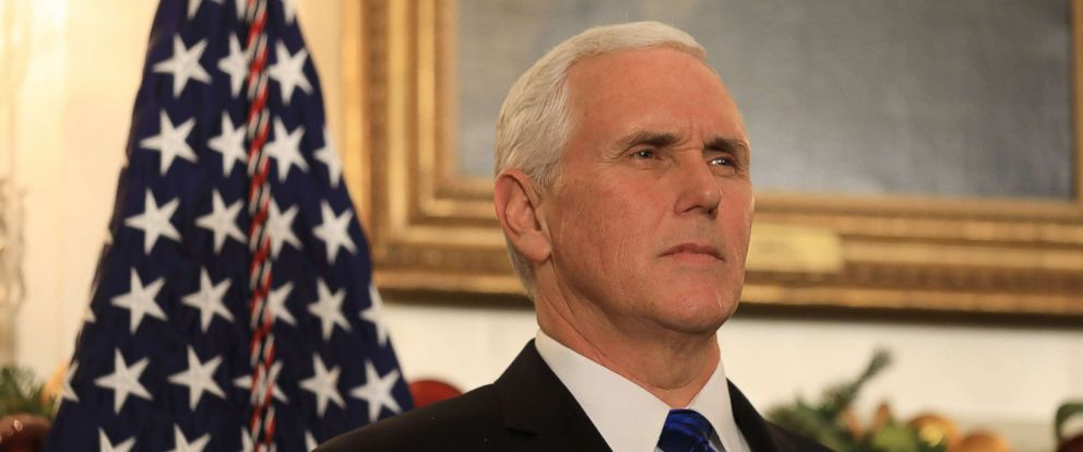 PHOTO: Vice President Mike Pence listens as President Donald Trump delivers his controversial decision to formally recognize Jerusalem as the capital of Israel, and his plan to relocate the U.S. embassy to that city in Washington, Dec. 6, 2017.