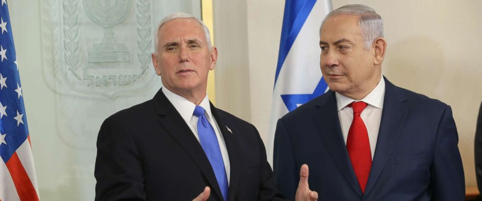 PHOTO: U.S. Vice President Mike Pence meets with Israeli Prime Minister Benjamin Netanyahu, on Jan. 22, 2018, in Jerusalem.