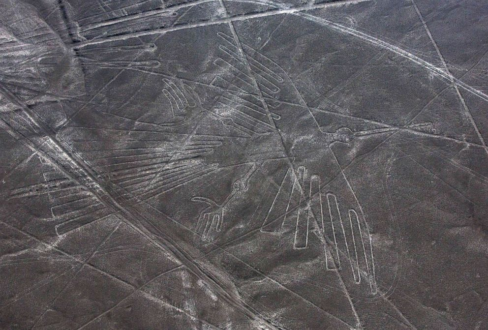 PHOTO: An aerial view of the condor geoglyph in the Nazca desert, in southern Peru is pictured in this Dec. 8, 2014 file photo.