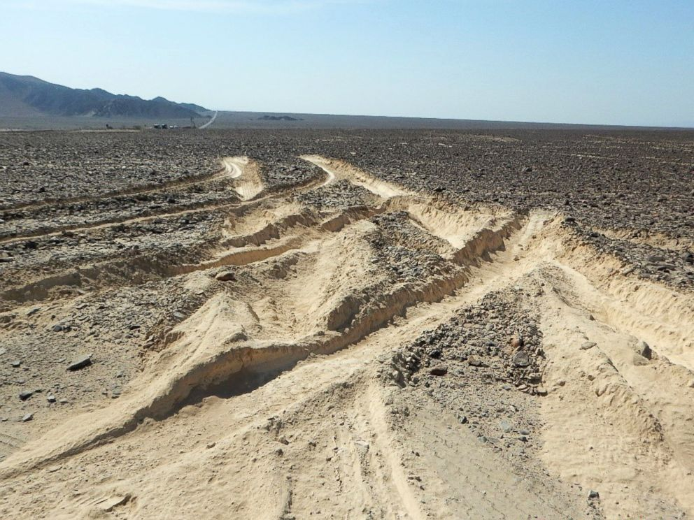 PHOTO: Damage inflicted by a truck that illegally entered over a sector of the ancient geoglyphs of the Nazca Lines, a World Heritage Site, in southern Peru, is pictured in a handout photo released by the Peruvian Ministry of Culture, Jan. 27, 2018.