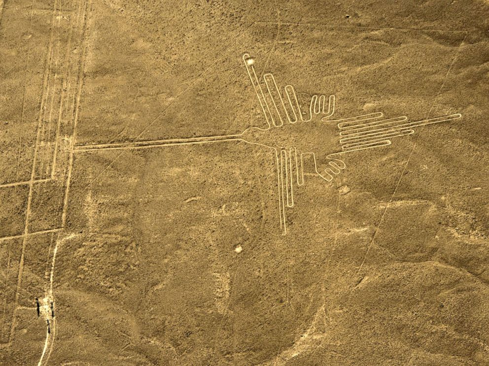 PHOTO: An aerial view of the Hummingbird, one of the most well-preserved figures (93 meters long) at Nazca Lines, in Peru, Dec. 11, 2014.
