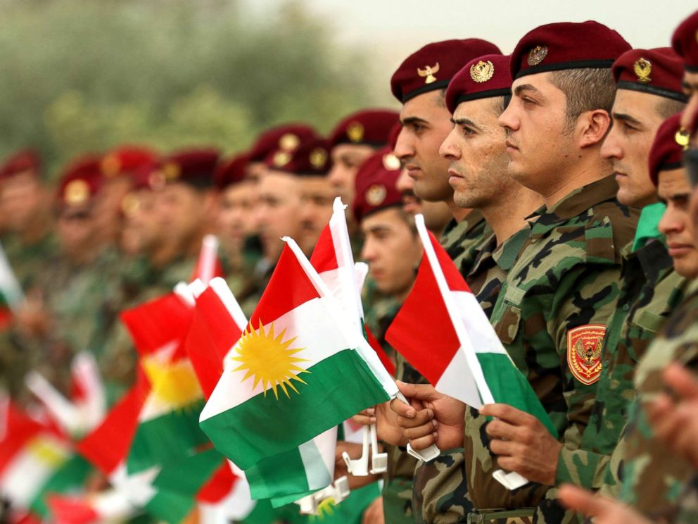 PHOTO: Iraqi Kurdish peshmergas take part in a gathering to urge people to vote in the upcoming independence referendum in Arbil, the capital of the autonomous Kurdish region of northern Iraq, on Sept. 20, 2017.