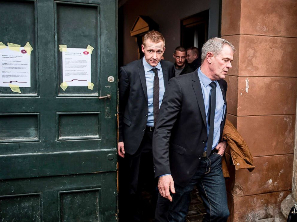 PHOTO: Prosecutor Jakob Buch-Jepsen (L) and deputy police director Jens Moeller (C) leave for a break at the courthouse in Copenhagen, on March 8, 2018.