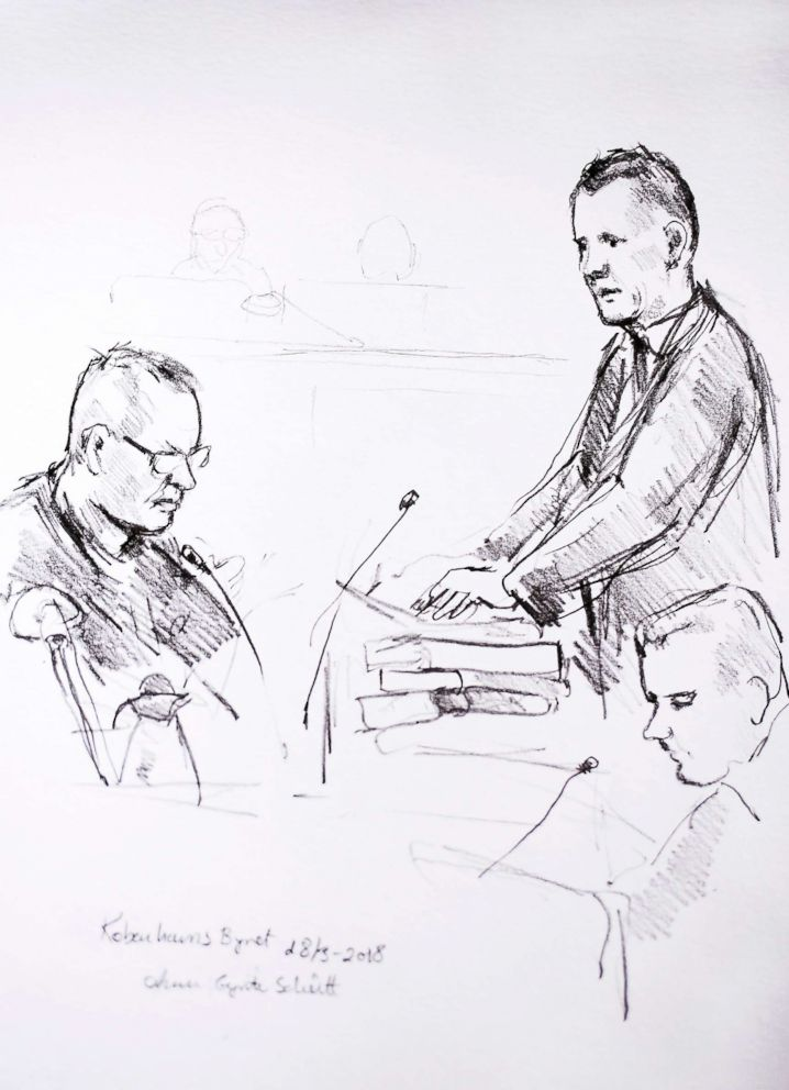 PHOTO: Court drawing by Anne Gyrite Schuett made available by Danish news agency Ritzau SCANPIX shows accused Peter Madsen (L) and the prosecutor Jakob Buch-Jepsen (standing) on the first day of the trial at the courthouse in Copenhagen, March 8, 2018.