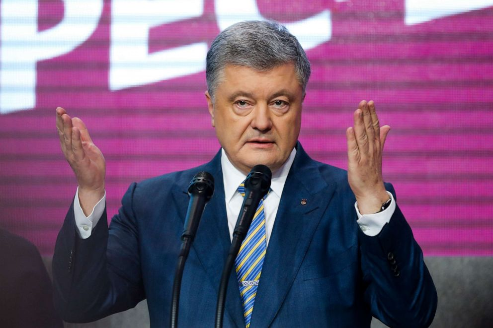 PHOTO: Ukrainian President Petro Poroshenko gestures while speaking at his headquarters after the second round of presidential elections in Kiev, Ukraine, April 21, 2019.