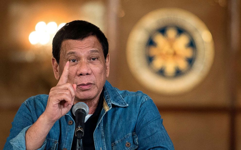 Philippine's President Rodrigo Duterte gestures as he answers a question during a press conference at the Malacanang palace in Manila on Jan. 30, 2017.