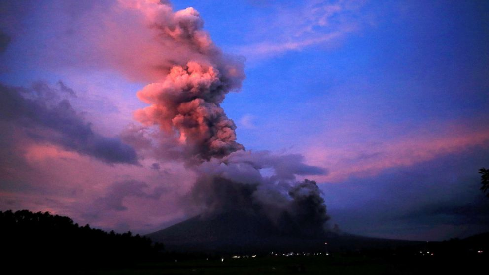 A view of the Mayon Volcano after a new eruption in Camalig, Albay province, south of Manila, Philippines, Jan. 24, 2018.