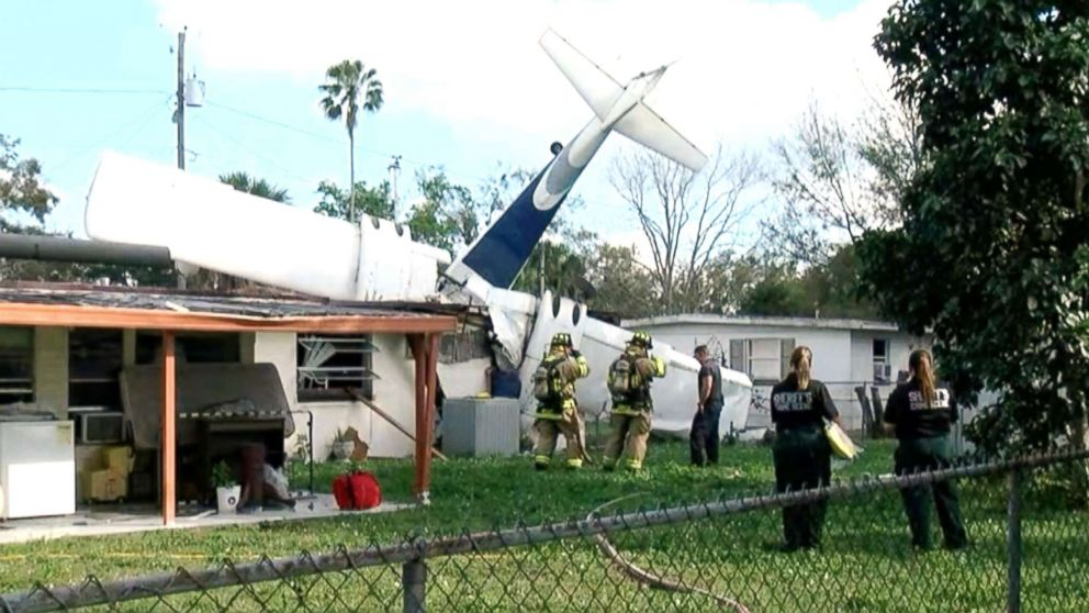 A small aircraft with two people onboard crashed into a home in Winter Haven, Fla, Feb. 23, 2019.