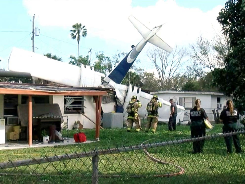 PHOTO: A small aircraft with two people onboard crashed into a home in Winter Haven, Fla, Feb. 23, 2019.