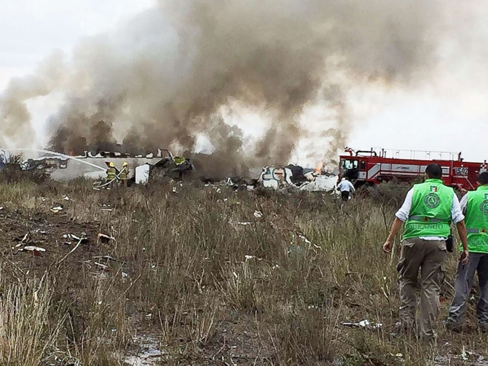 A handout photo made available by the Civil Protection State Coordination shows emergency personnel at the site where an Aeromexico plane crashed, in Durango, Mexico, July 31, 2018.