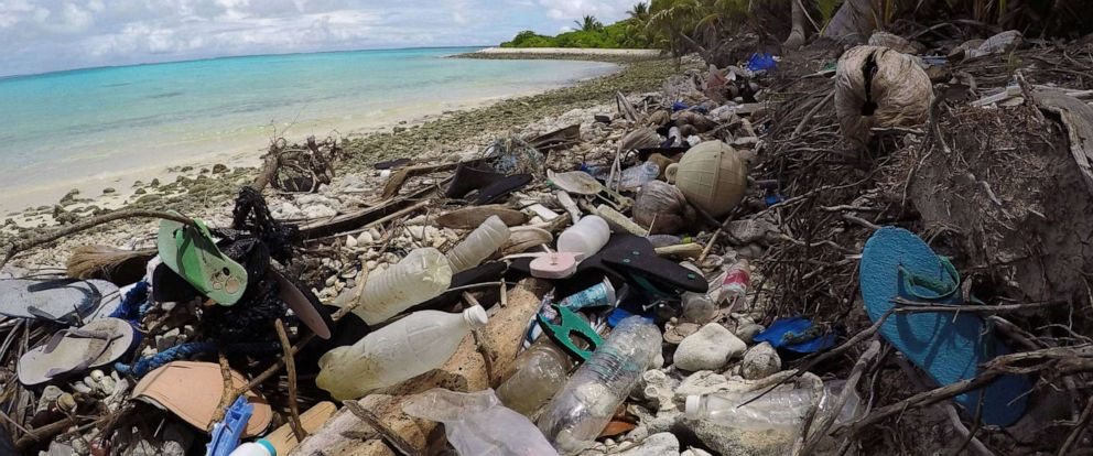 PHOTO: Plastic debris washed up on a beach on Cocos Islands, Australia.