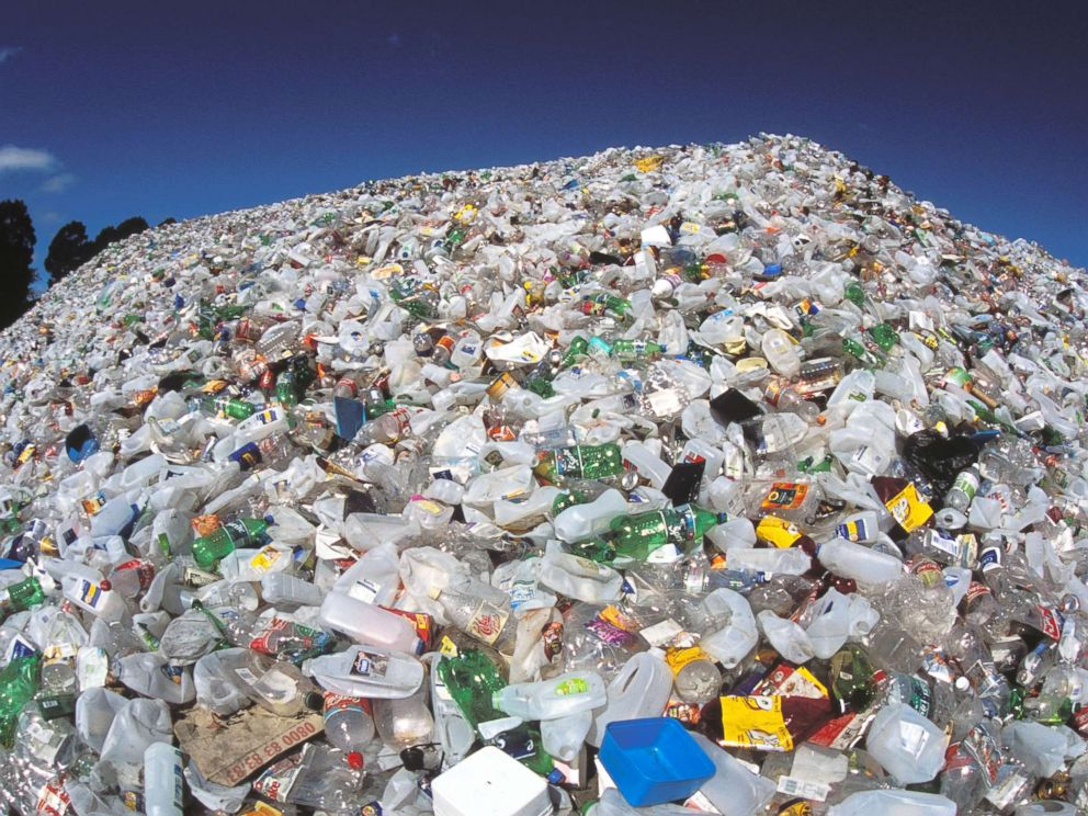 PHOTO: A plastic mountain waiting for recycling, in this undated photo, in Christchurch, New Zealand.