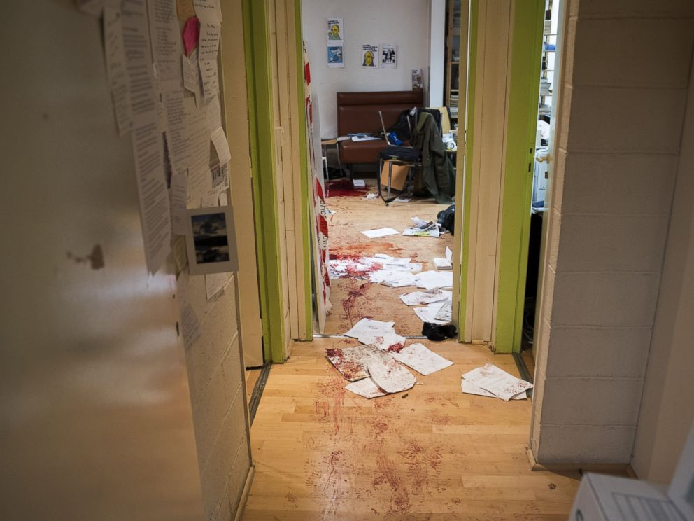 PHOTO: The bloodied floor and desks in the Charlie Hebdo newsroom after gunman entered the office, Jan. 7, 2015.