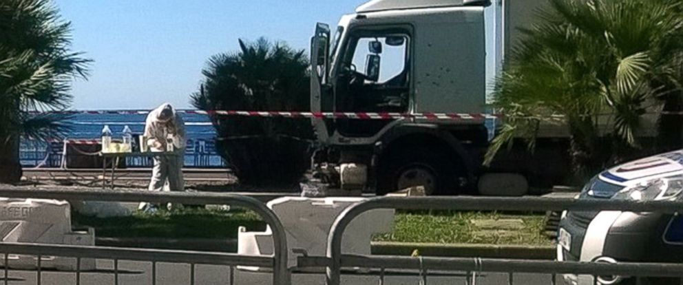 PHOTO: The investigation continues around the truck that drove a crowd during Bastille Day celebrations on the Promenade des Anglais.
