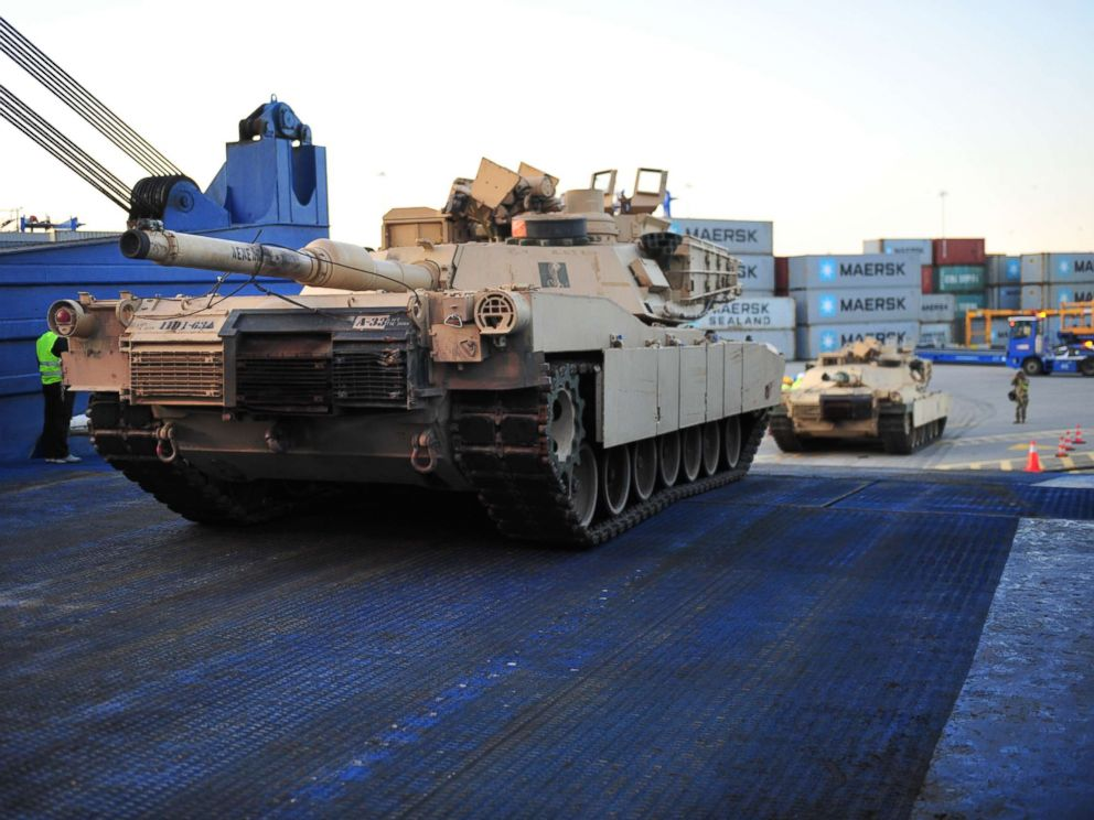 PHOTO: Tanks roll off the ARC Endurance at the Port of Gdansk, Poland, Sept. 13, 2017.