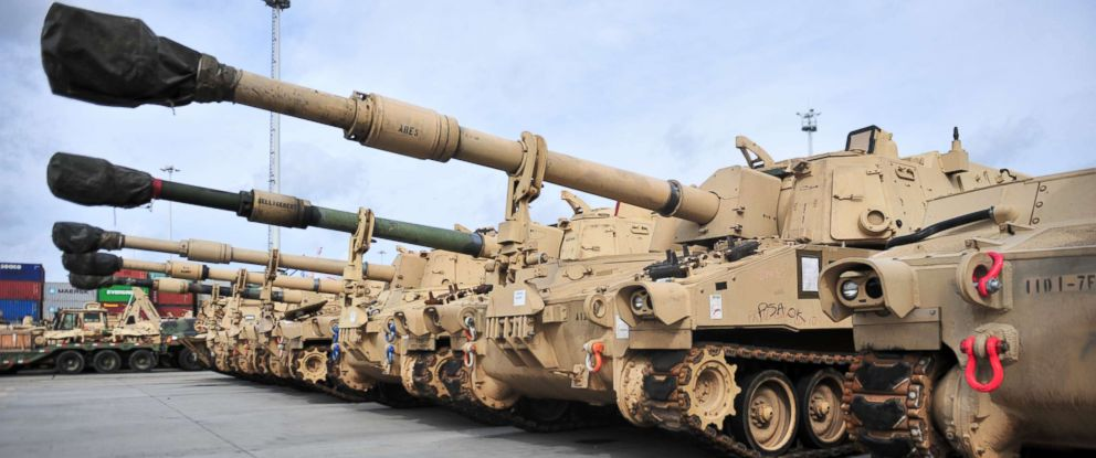 PHOTO: Paladin self-propelled Howitzers are lined up on the port of Gdansk, Poland, Sept. 14, 2017, as part of the staging to move the brigade to various locations throughout Eastern Europe in support of Atlantic Resolve.