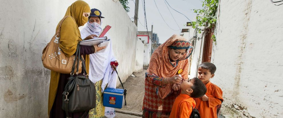 PHOTO: Polio vaccines are administered to some children.
