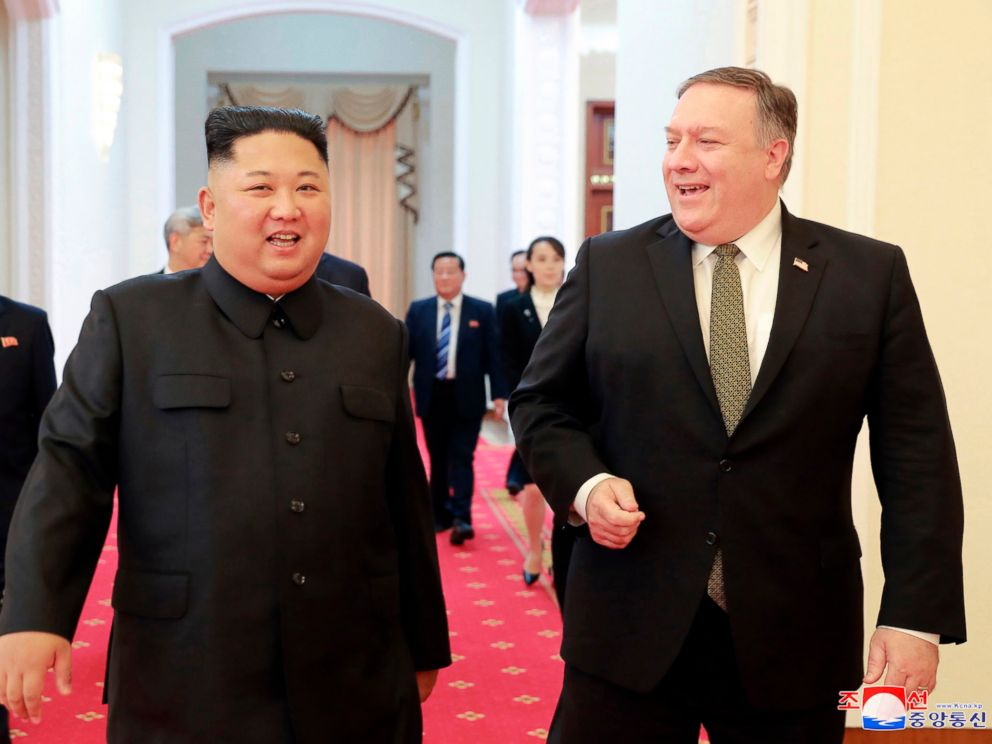 PHOTO: In this photo provided by the North Korean government, North Korean leader Kim Jong Un, center left, and U.S. Secretary of State Mike Pompeo walk together before their meeting in Pyongyang, North Korea, Sunday, Oct. 7, 2018.