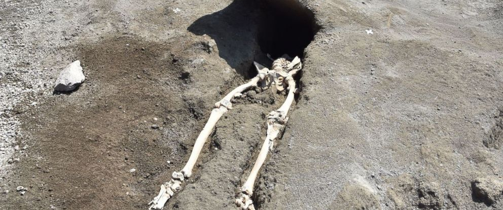 Skeleton of man possibly crushed running from lava found in