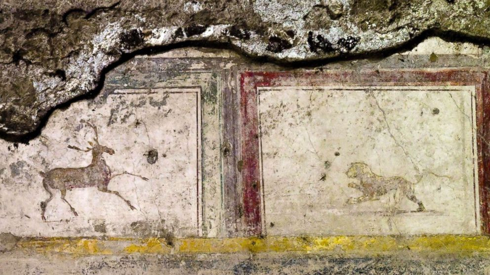 The domus delle Nozze d'Argento shows part of a fresco in Pompeii, Italy, May 17, 2018.