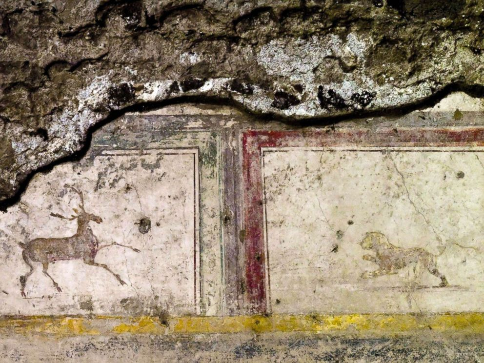 PHOTO: The domus delle Nozze dArgento shows part of a fresco in Pompeii, Italy, May 17, 2018.